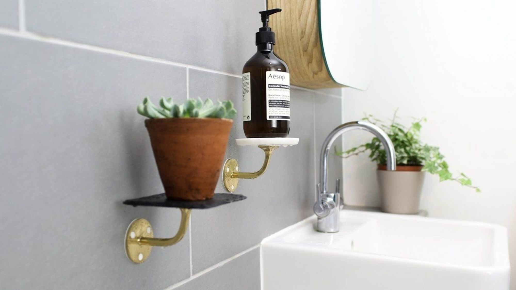 How to create bathroom shelves without drilling sugru sugru is ideal for this project because it bonds well with metals ceramics and wood weve used a metal handrail with marble and slate coasters and even a dailygadgetfo Gallery